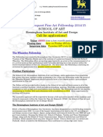 The Wheatley Bequest Fellowship Announcement 2014-15