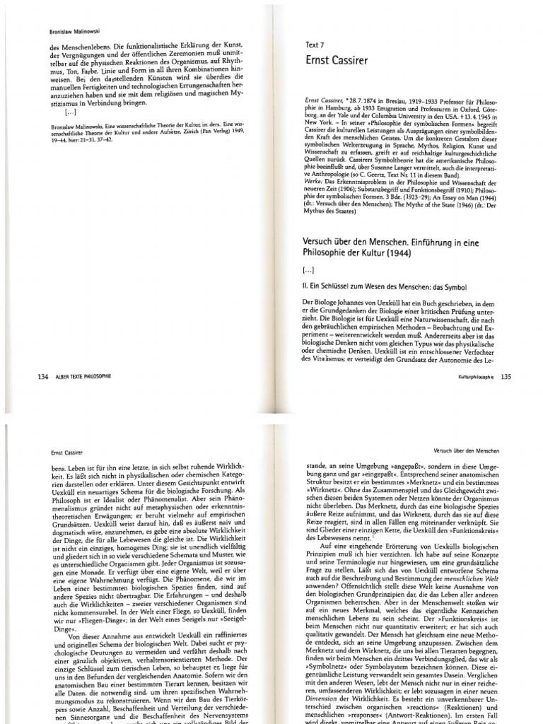 CASSIRER Versuch Über Den Menschen 1944 (Auszug)