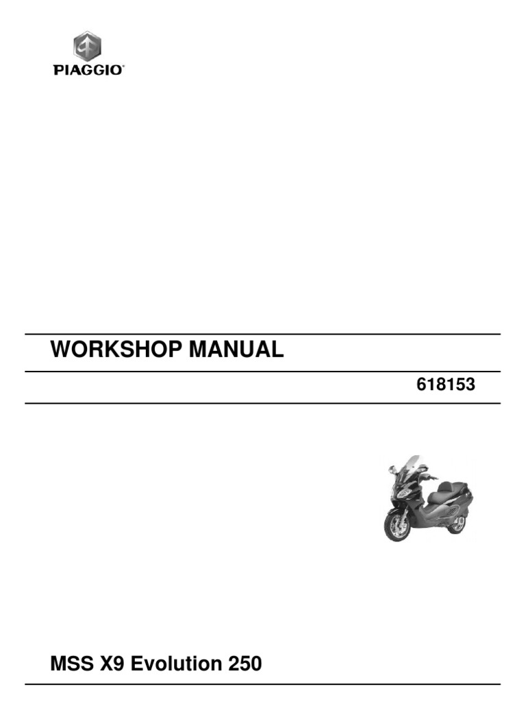 piaggio x9 250evo workshop manual