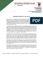 Presidents Report (Season 2013-14)