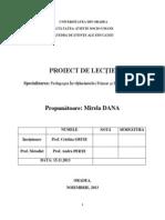 Proiect de Lecţie - Matematică, Cls a II-A