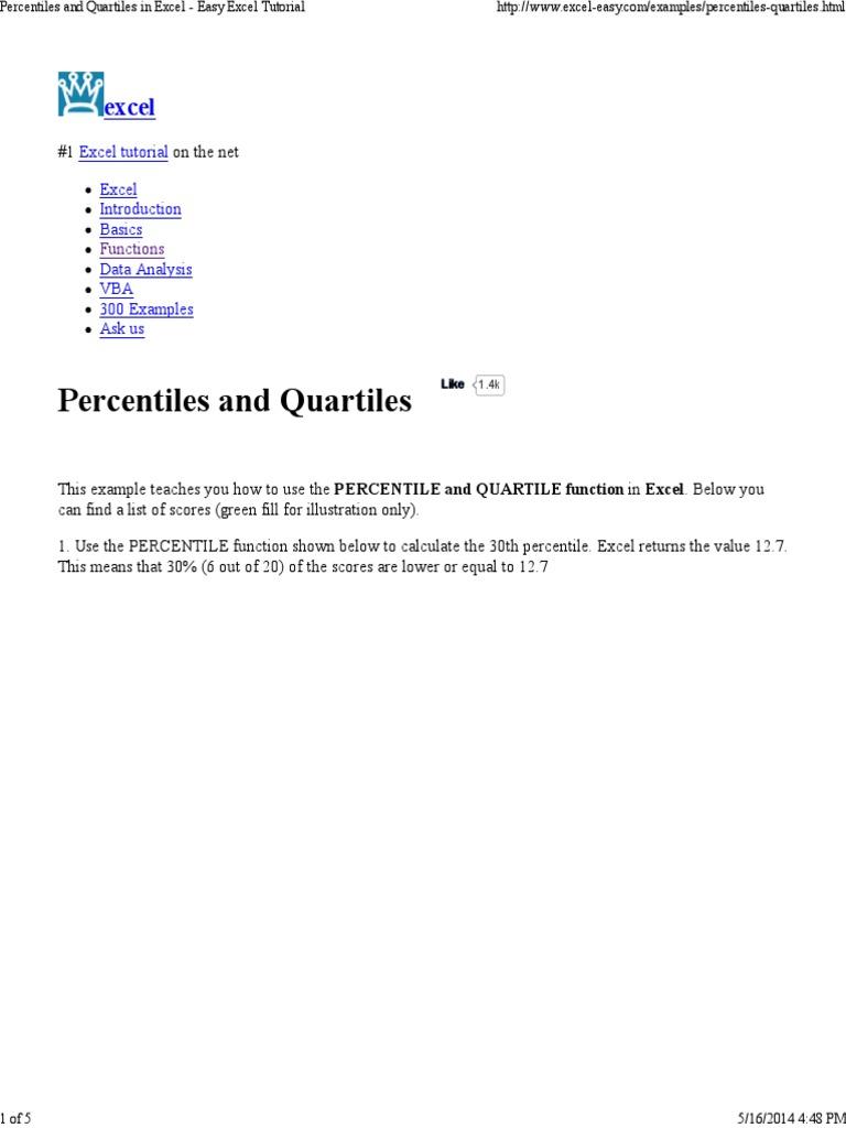 Percentiles and Quartiles in Excel   Percentile   Quartile
