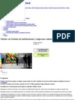Máster en Gestión de Instituciones y Empresas Culturales (Presencial) _ Universitat de Barcelona