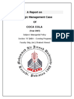 a Report on Strategic Management Case of COCA COLA