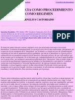 La Democracia Como Procedimiento y Como Régimen, Por Cornelius Castoriadis