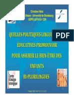 Christine Helot Quelles Politiques Educatives Promouvoir Pour Assurer Le Bien-etre Des Enfants Des Familles Dorigine Etrangere