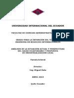 Análisis de La Situación Actual y Perspectivas Del Cacao Ecuatoriano y Propuesta de Industrialización Local