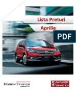 Honda Lista Preturi Aprilie 2014