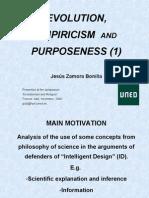 Evolution, Empiricism & Purpose 1. A criticism of Intelligent Design