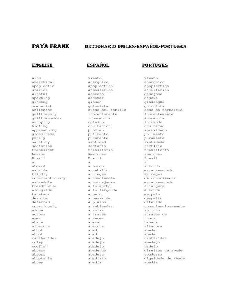 Diccionario ingles espanol portugues fandeluxe Images