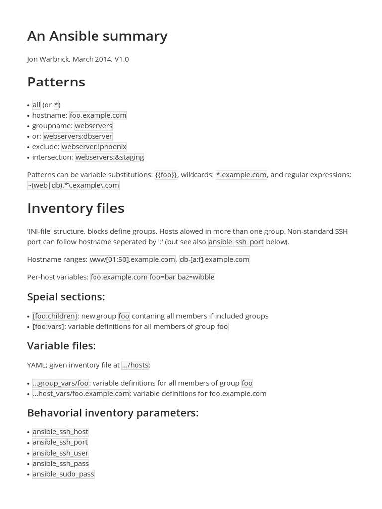 Ansible Summary | Software Engineering | Computer Data
