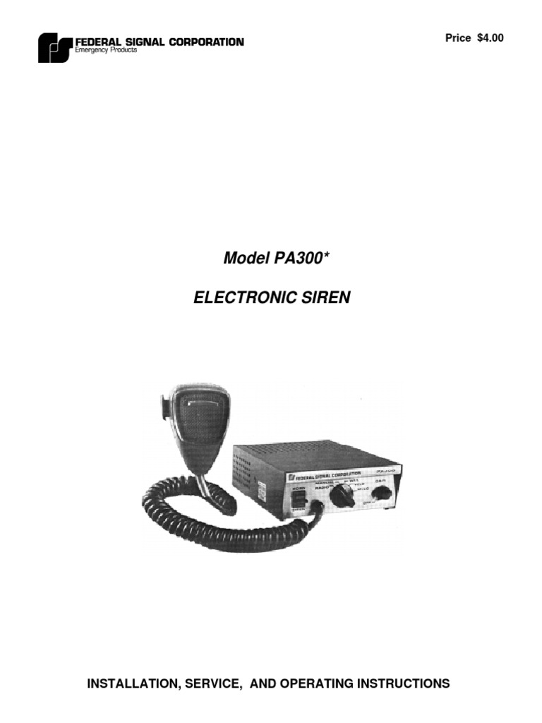Federal Pa300 Siren Sm | Amplifier | Electronic Oscillator on