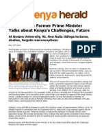 Rt. Hon. Raila Odinga exclusive interview at Boston University