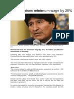 Bolivia Raises Minimum Wage by 20