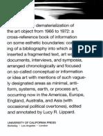 Lucy Lippard, Dematerizalization of the Art Object