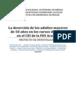 La deserción de los adultos mayores de 50 años en los cursos de inglés en el CEI de la FES Acatlán