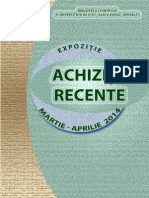 ACHIZIŢII RECENTE, perioada  martie - aprilie 2014