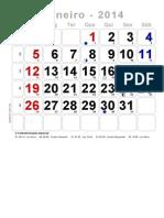 Calendário Grande Com Numeração Dos Dias Do Ano - 2014