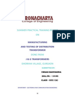 Practical Training Report on j&g transformers