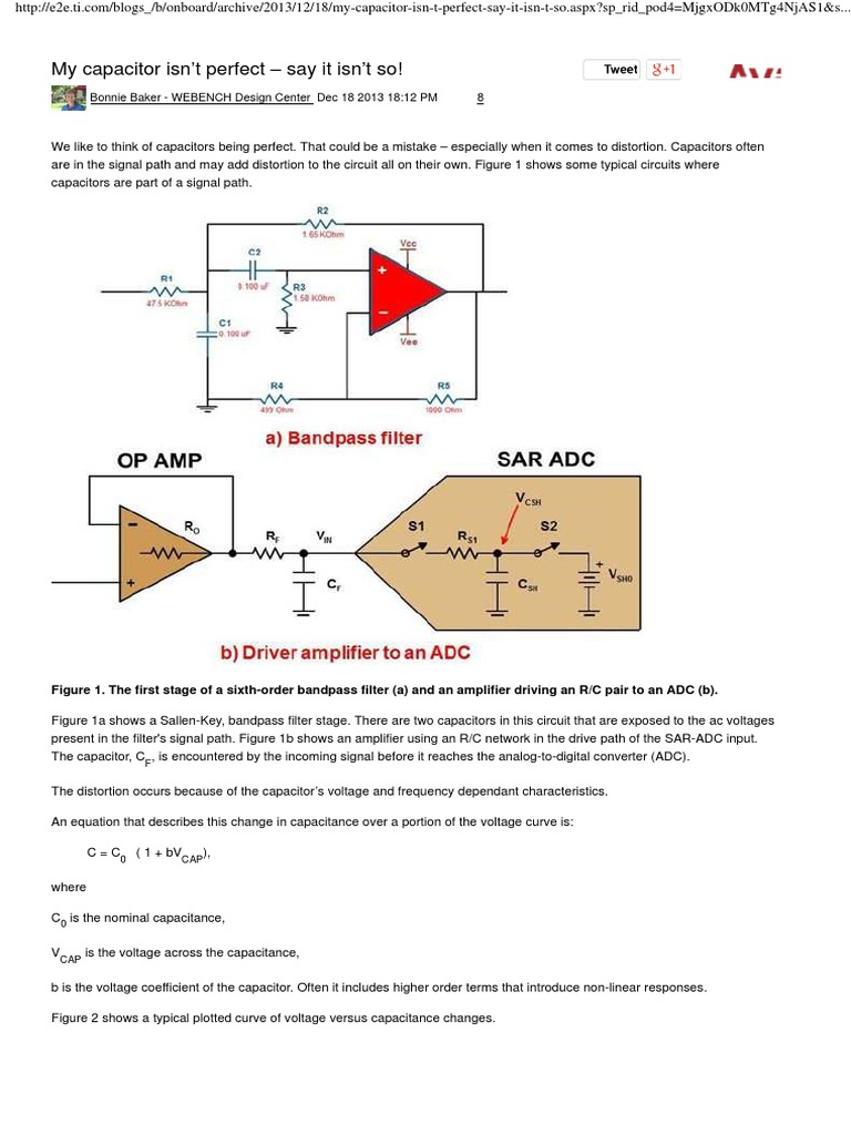 Capacitor Distortion Analog To Digital Converter Filter Circuit