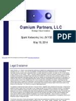 Osmium Partners Presentation - Spark Networks Inc