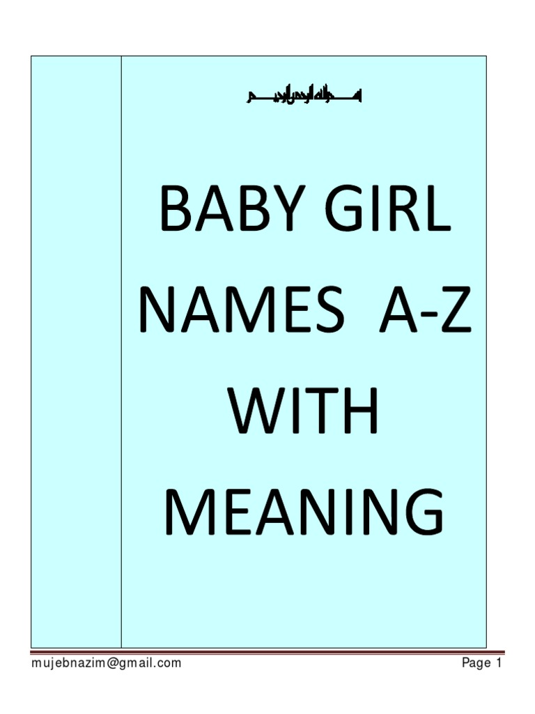 Baby Girl Names With Meaning
