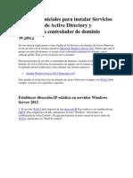 Active Directory y Promoción a Controlador de Dominio W2012