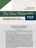 The New Philosophy January June 1982 Vol LXXXV Nos 1&2 the Swedenborg Scientific Association