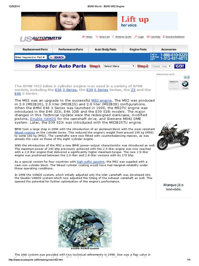 Bmw World M52 Engine Cylinder Engines M50 Vanos Wiring Diagram