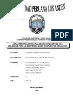 Caracteristicas Principales de Los Reactivos Mas Usados Para La Identificacion de Compuestos Organicos