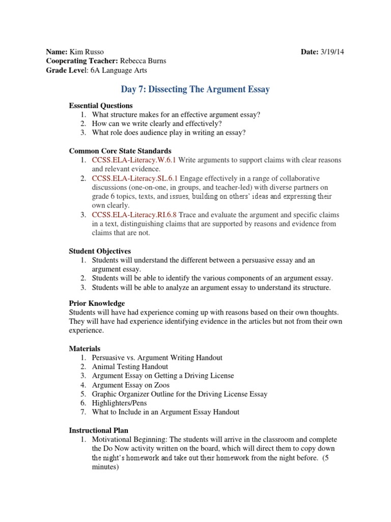 dissecting an argument essay day essays argument