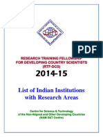 List of Indian Institutions With Research Areas_RTFDCS 2014-15