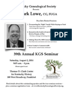 Kentucky Genealogical Society presents J. Mark Lowe