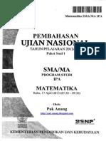 Pembahasan Soal UN Matematika Program IPA SMA 2013 Paket 1