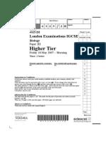 2007 IGCSE Biology Written Paper Question Paper