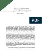 José Luis Pardo. Políticas de La Intimidad