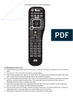 HP MediaSmart TV Remote Setting Manual