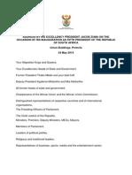 President Jacob Zuma's inauguration