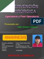 Informe Qx, Post Operatorio y Epicrisis