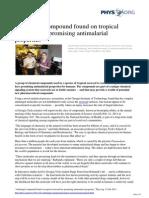 Antifungal Compound Tropical Seaweed Antimalarial
