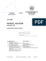 PKC Physics Trial 2007 Solution