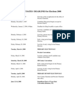 Revised Important Dates for Elections 2008