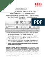 ECSH 3Q 2009 Press Release Amended 121109