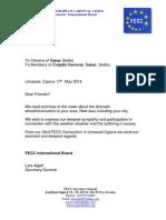 FECC Letter to Sabac 20140517