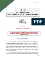 DOCUMENTO COMPLEMENTARIO N° 2 - EVALUACIÓN DE NECESIDADES EDUCATIVAS ESPECIALES EN EL MARCO DE LAS ADAPTACIONES CURRICULARES