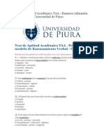 Test de Aptitud Académico Universidad de Piura 2014