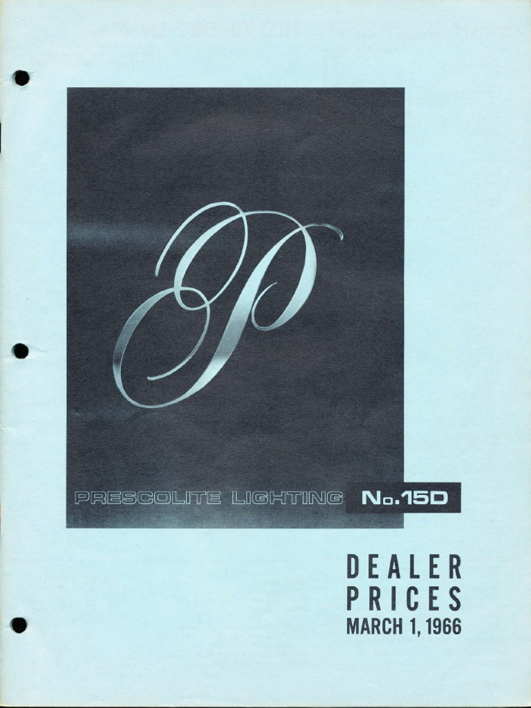 prescolite dealer pricing list 15d 1966 materials building
