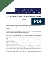Estatuto de La Universidad Nacional de Tres de Febrero
