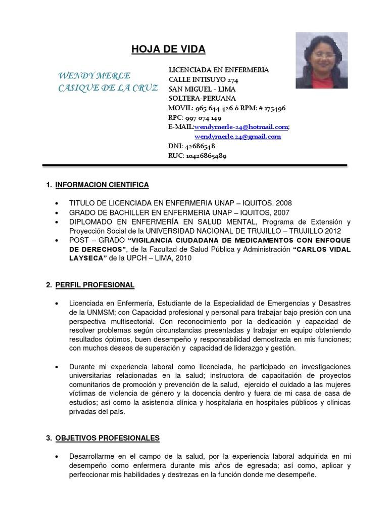 Único Curriculum Vitae De La Enfermera De Estudiante Fotos - Ejemplo ...