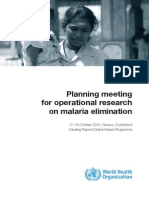 Meeting Rep Op Research Malaria Elimination May2014